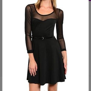 Dresses & Skirts - A-line dress in black with sheer sleeves